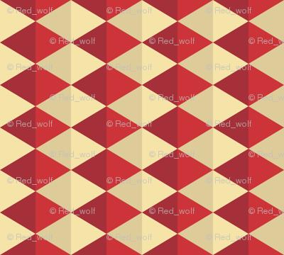 Geometric Pattern: Split Diamond: Red
