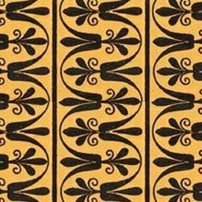 Mustard and black floral stripe