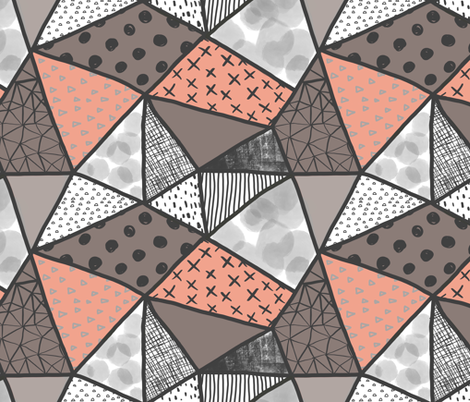 Coral charcoal geometry fabric by mrshervi on Spoonflower - custom fabric