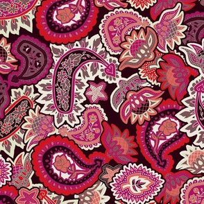 Valentine Paisley in Red Pink and Coral