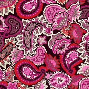 Valentine Paisley in Red and Pink