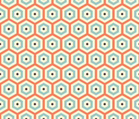 Geometric Pattern: Hexagon: Orange/Blue fabric by red_wolf on Spoonflower - custom fabric