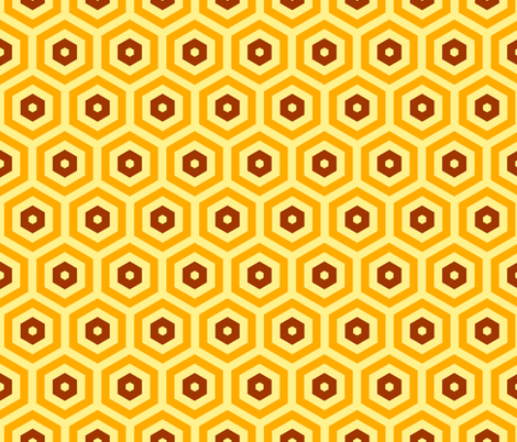 Geometric Pattern: Hexagon: Orange/Brown fabric by red_wolf on Spoonflower - custom fabric
