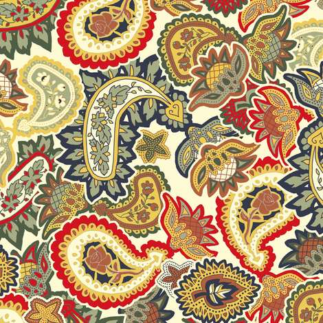 Christmas Scattered Allover Paisley fabric by eclectic_house on Spoonflower - custom fabric