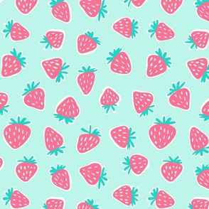 strawberries - dark pink on light aqua