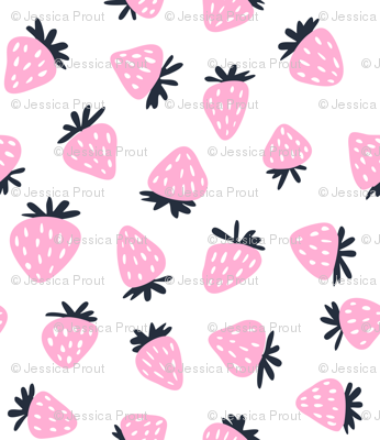 strawberries - pink and navy