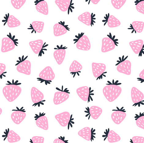 strawberries - pink and navy fabric by littlearrowdesign on Spoonflower - custom fabric