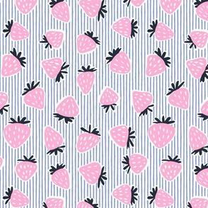 strawberries - pink on blue stripes