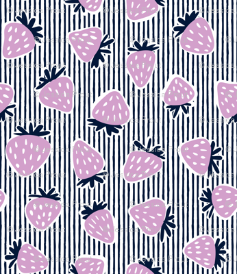 strawberries - orchid and navy on stripes