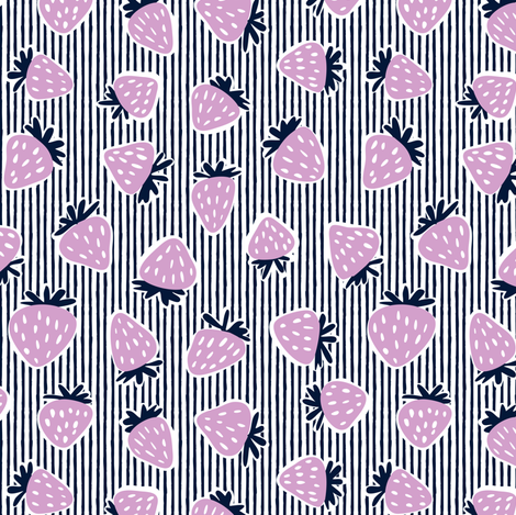 strawberries - orchid and navy on stripes fabric by littlearrowdesign on Spoonflower - custom fabric