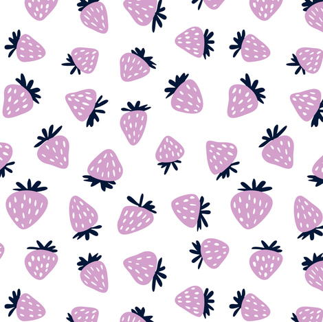 strawberries in orchid and navy  fabric by littlearrowdesign on Spoonflower - custom fabric