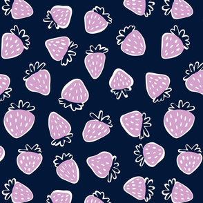 strawberries in orchid and navy - large scale