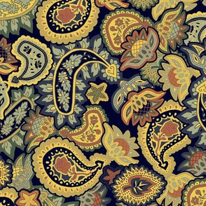 Scattered Allover Paisley in Blue and Golds