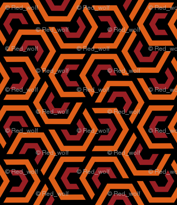 Geometric Pattern: Layered Hexagon: Orange