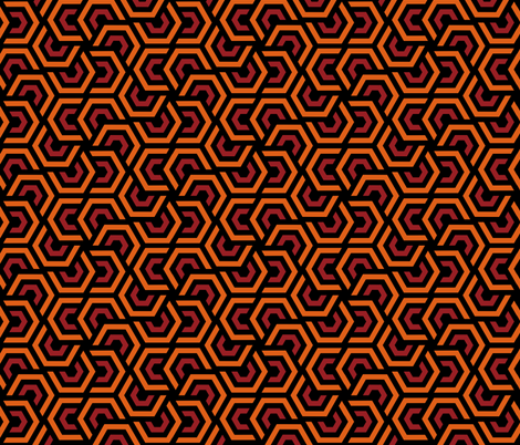 Geometric Pattern: Layered Hexagon: Orange fabric by red_wolf on Spoonflower - custom fabric