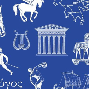 Ancient Greece // Dark Blue // Large