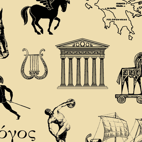 Ancient Greece // Tan // Large fabric by thinlinetextiles on Spoonflower - custom fabric