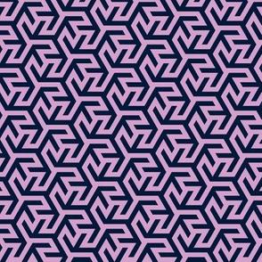 Geometric Pattern: Triskelion Fork: Navy/Pink