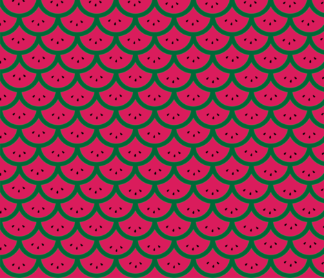 Watermelon Mermaid Scales fabric by la_panim on Spoonflower - custom fabric