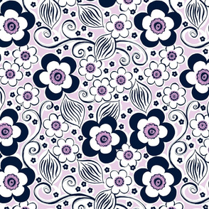 Floral in Navy and Orchid