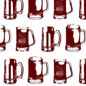 Burgundy Beer Mugs // Large