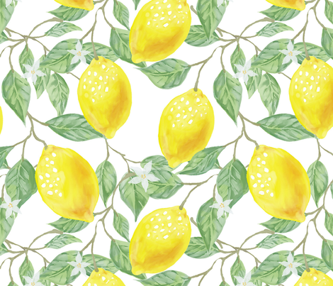 Lemon and Early Blooms fabric by la_panim on Spoonflower - custom fabric