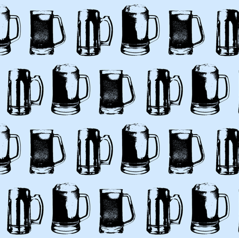 Beer Mugs // Light Blue // Small fabric by thinlinetextiles on Spoonflower - custom fabric