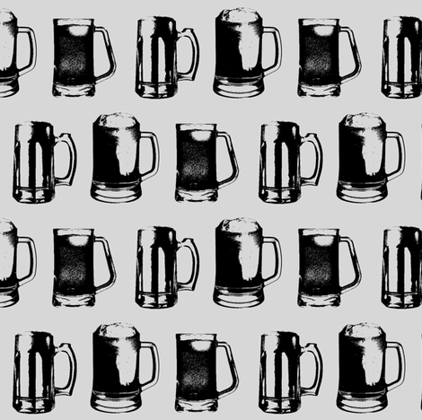 Beer Mugs // Light Grey // Small fabric by thinlinetextiles on Spoonflower - custom fabric