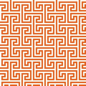 Geometric Pattern: Key Bridge Interlock Negative: Orange