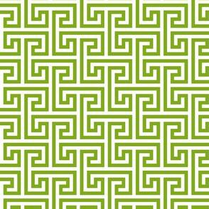 Geometric Pattern: Key Bridge Interlock Negative: Green