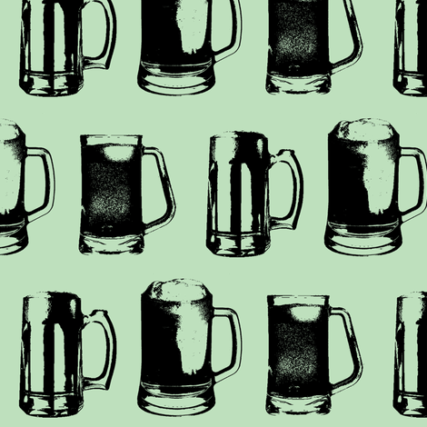 Beer Mugs // Spearmint // Large fabric by thinlinetextiles on Spoonflower - custom fabric
