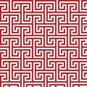 Geometric Pattern: Key Bridge Interlock Positive: Red