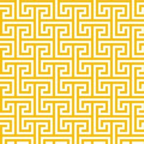 Geometric Pattern: Key Bridge Interlock Positive: Yellow