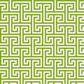 Geometric Pattern: Key Bridge Interlock Positive: Green
