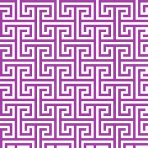 Geometric Pattern: Key Bridge Interlock Positive: Purple