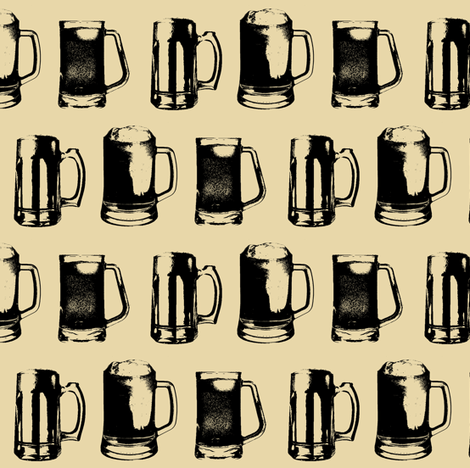 Beer Mugs // Tan // Small fabric by thinlinetextiles on Spoonflower - custom fabric