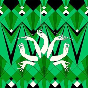 art deco smoking hand (emerald)