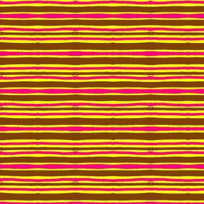 Mstari 3 Stripe in Pink Yellow & Brown