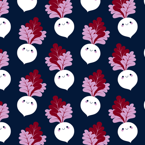 Cute white beetroots fabric by petitspixels on Spoonflower - custom fabric