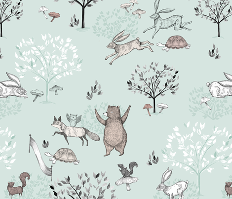 Mint The Tortoise and The Hare / Aesop's Fable / Woodland Nursery  fabric by biancapozzi on Spoonflower - custom fabric