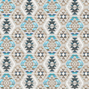 Small Scale Woven Textured Kilim - turquoise, brown and cream