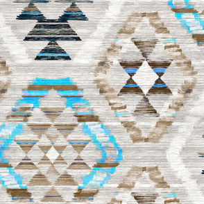 Large Scale Woven Textured Kilim - turquoise, brown and cream