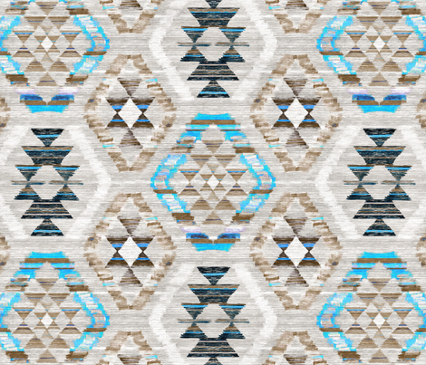 Woven Textured Kilim - turquoise, brown and cream fabric by micklyn on Spoonflower - custom fabric