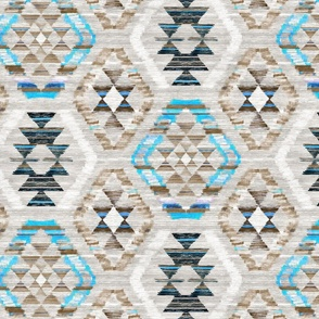 Woven Textured Kilim - turquoise, brown and cream