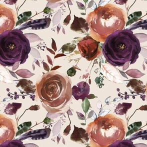 "12"" Plum Fall Florals on Cream"