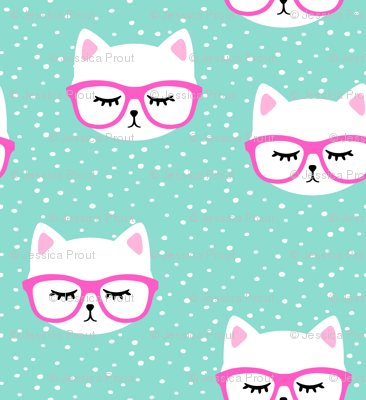 cat with hot pink glasses