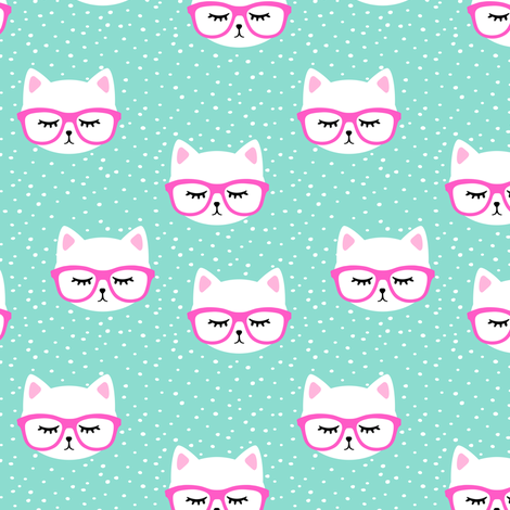 cat with hot pink glasses  fabric by littlearrowdesign on Spoonflower - custom fabric