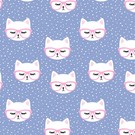 cat with pink glasses fabric by littlearrowdesign on Spoonflower - custom fabric
