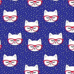 cat with glasses - red on blue
