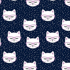 cats with glasses - blue and purple
